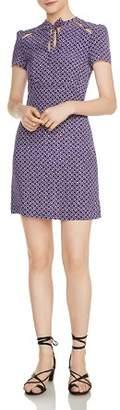 Maje Ramba Floral-Print Cutout Silk Mini Dress