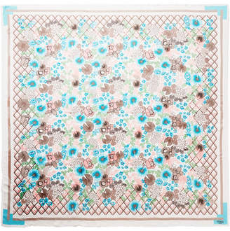 Fendi Frayed Floral-print Silk And Wool-blend Scarf