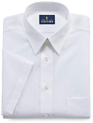 STAFFORD Stafford Travel Performance Super Shirt Mens Short Sleeve Wrinkle Free Stain Resistant Dress Shirt - Fitted