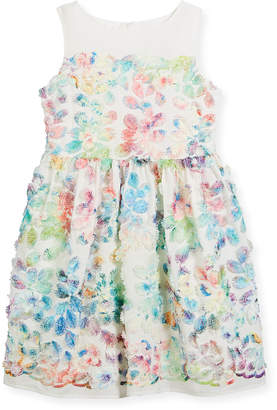 Neiman Marcus Charabia Watercolor Floral Sleeveless Dress, Size 2-4