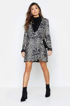 boohoo Leopard Print Contrast Print Blazer Dress