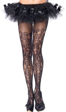 Women's Plus-Size Vine Net Pantyhose, Black, Plus Size