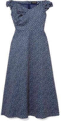Saloni Ruth Off-the-shoulder Printed Neoprene Midi Dress