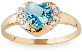 Fine Jewellery 10K Yellow Gold Blue Topaz Diamond Heart Ring