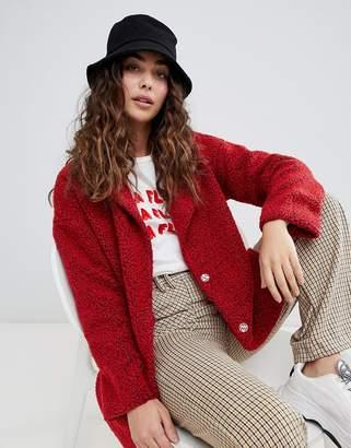 Daisy Street oversized coat in teddy fleece