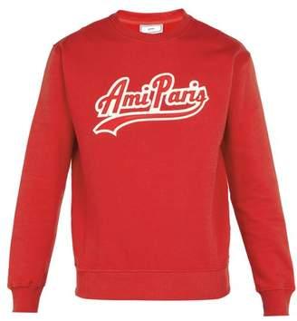 Ami Logo Applique Cotton Sweatshirt - Mens - Red Multi