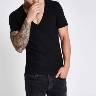 River Island Black pique deep V neck muscle fit T-shirt