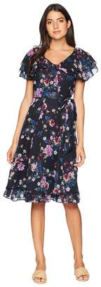 Tahari ASL Chiffon Floral Midi Dress Women's Dress