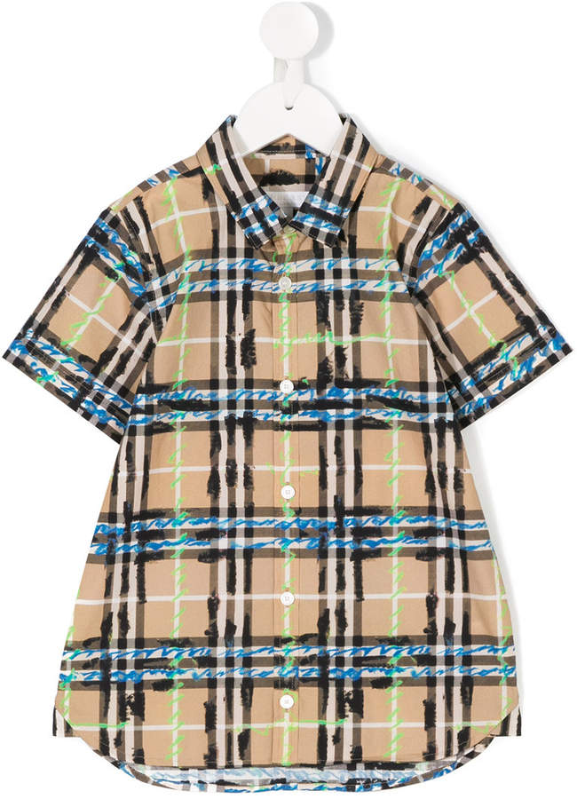 Scribble check shirt
