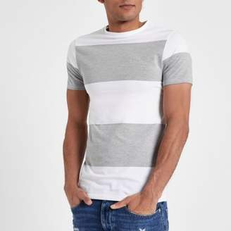 River Island Grey marl color block muscle fit T-shirt