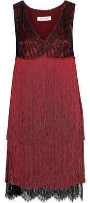 Prabal Gurung Fringed Silk-lace Mini Dress