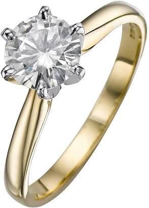 Moissanite 18 Carat Yellow Gold 1 Carat Solitaire Ring