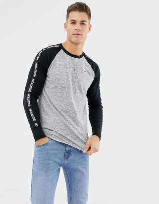 Hollister long sleeve baseball top with logo taping in black/dark gray marl