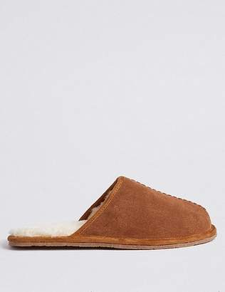 "Marks and Spencer Suede Slip-on Mule Slippers with Freshfeetâ""¢"