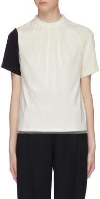 AKIRA NAKA Tulle overlay gathered neck colourblock top