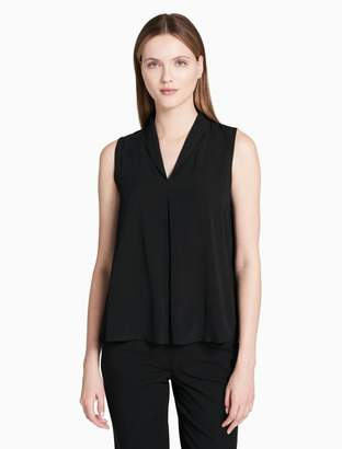 Calvin Klein v-neck pleated sleeveless top