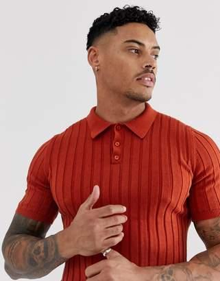 Asos Design DESIGN knitted ribbed polo t-shirt in burnt orange