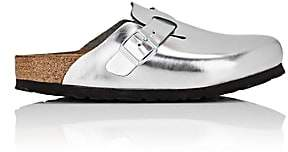 Birkenstock Women's Boston Metallic Leather Clogs - Silver