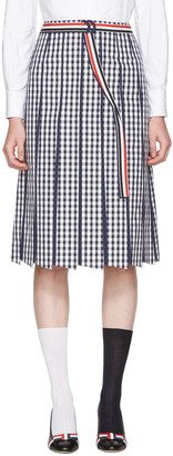 Thom Browne Navy Trompe L'Oeil A-Line Skirt $1,900 thestylecure.com