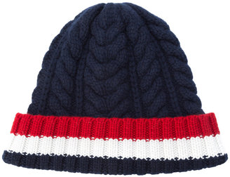 cable knit stripe panel beanie