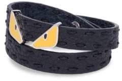 Fendi Monster Eye Double Wrap Leather Bracelet