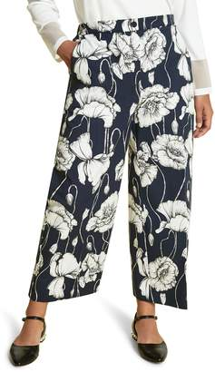 Marina Rinaldi Floral Print Wide Leg Crop Pants
