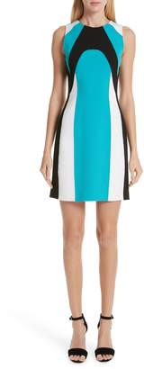 Michael Kors Scuba Colorblock Stretch Wool Boucle Sheath Dress