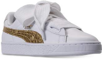 Puma Women's Basket Heart Glitter Casual Sneakers from Finish Line