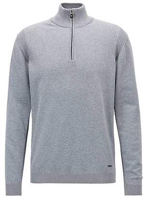 HUGO BOSS Zip-neck sweater in a stretch-cotton blend