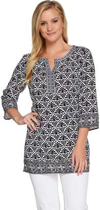 C. Wonder 3/4 Sleeve Printed Tunic with Embroidery