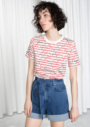 And other stories Allover Parisian Calligraphy Tee