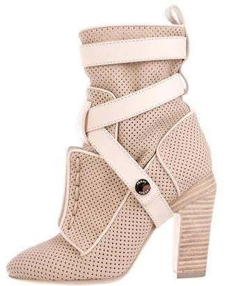 Fendi Perforated Nubuck Ankle Boots w/ Tags
