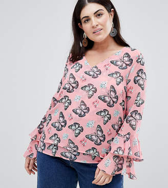 Koko Printed Blouse With Frill Sleeve