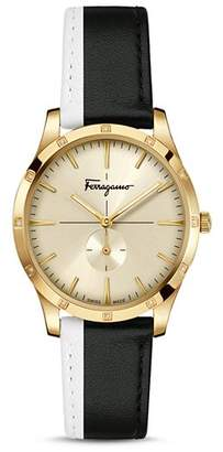 Salvatore Ferragamo Slim Formal Black & White Strap Watch, 35mm