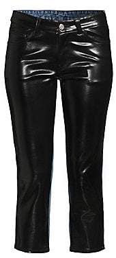we11done Women's Cropped Faux-Leather & Denim Pants