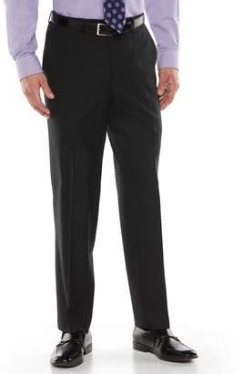 Chaps Men's Black Label Classic-Fit Black Plaid Wool-Blend Flat-Front Stretch Suit Pants
