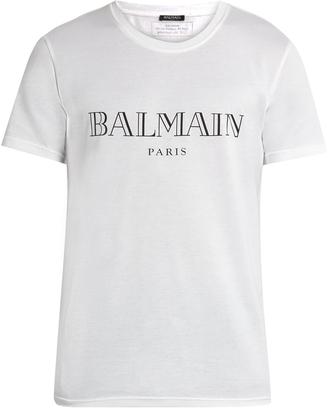 BALMAIN Logo-print cotton T-shirt $181 thestylecure.com