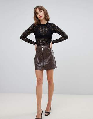 Stradivarius zip front PU skirt in snake print