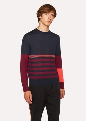 Paul Smith Men's Dark Navy Block Stripe Wool And Silk-Blend Sweater