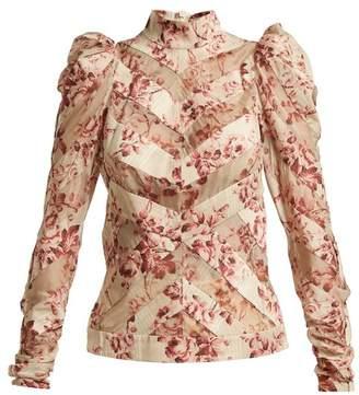 Zimmermann - Unbridled Floral Print Silk Blend Blouse - Womens - Burgundy Print