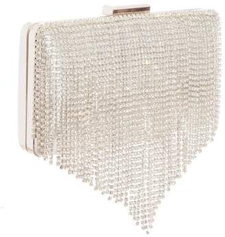 Quiz Silver Diamante Fringe Box Bag