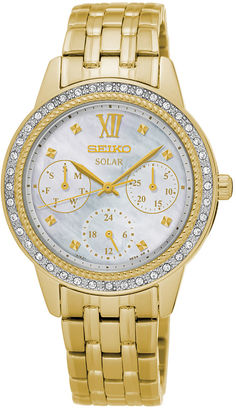 Seiko Womens Crystal-Accent Gold-Tone Chronograph Bracelet Watch SNE872 $350 thestylecure.com
