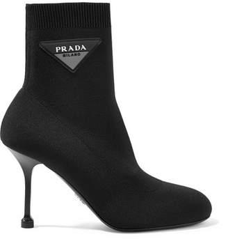 Prada Logo-appliquéd Stretch-knit Sock Boots - Black