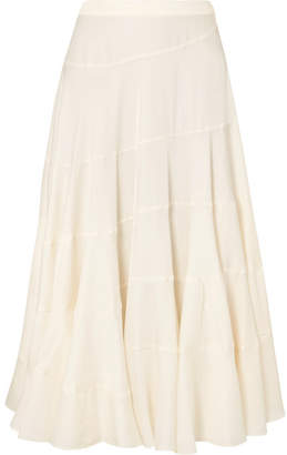 Elizabeth and James Lasse Satin-twill Midi Skirt - Beige