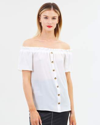 Dorothy Perkins Horn Button Bardot Top