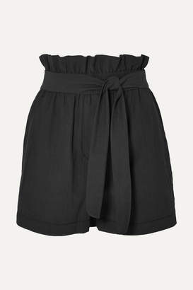 3.1 Phillip Lim Belted Crinkled Cotton-blend Shorts - Black