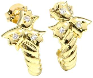 Christian Dior 18K Yellow Gold Diamond 0.03ct Tulip Pierced Earrings