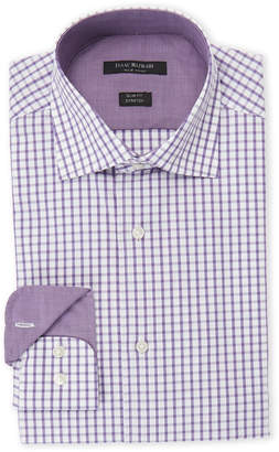 Isaac Mizrahi Purple & White Square-Print Slim Fit Stretch Dress Shirt