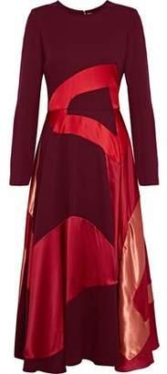 Roksanda Keanu Paneled Silk-Blend Satin Georgette And Crepe Midi Dress