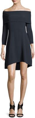 Theory Kensington Off-the-Shoulder Mini Cocktail Dress